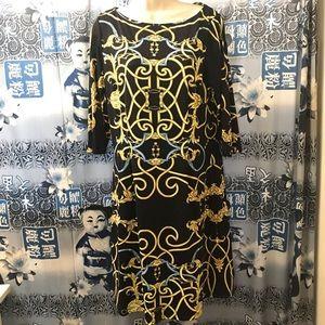 J. McLaughlin Dress in Black & Gold Sz L